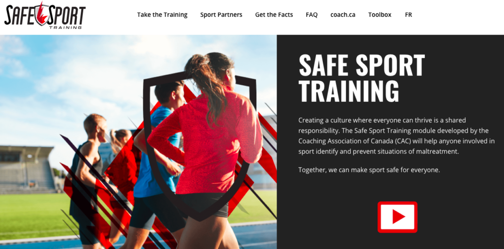 Screen shot of the Coaching Association of Canada Safe Sport Training web page