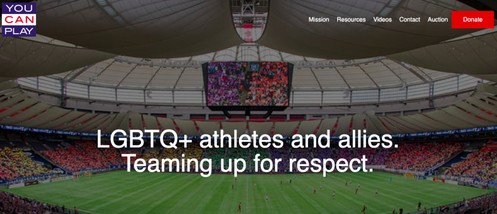 """Screen shot of You Can Play website landing page: image of a soccer pitch with """"LGBTQ+ athletes and allies. Teaming up for respect."""